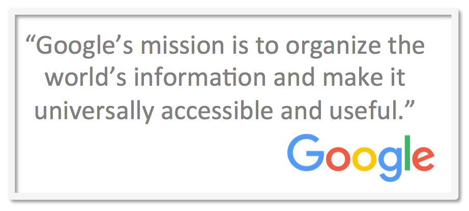 google s mission statements In what the washington post has hailed as a landmark volume, jeffrey abrahams offers a selection of over 300 mission statements from america's top companies and.